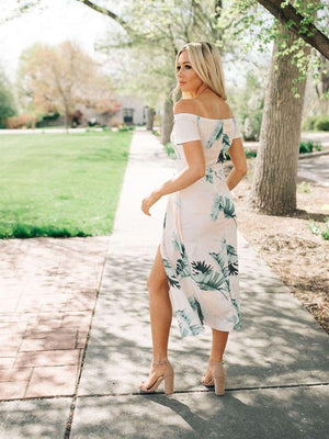 Leaf Printed Short Sleeve Off Shoulder Dresses
