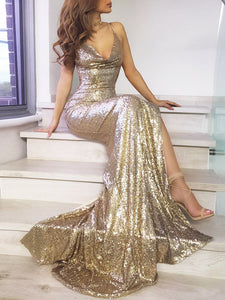 Women's Sexy Sequined Strapless Halter Backless Formal Dress One-Piece Dress,Homecoming Dress