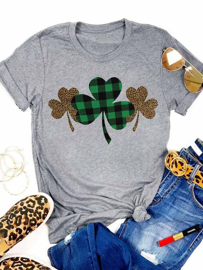 Plaid Leopard Printed Clover T-Shirt
