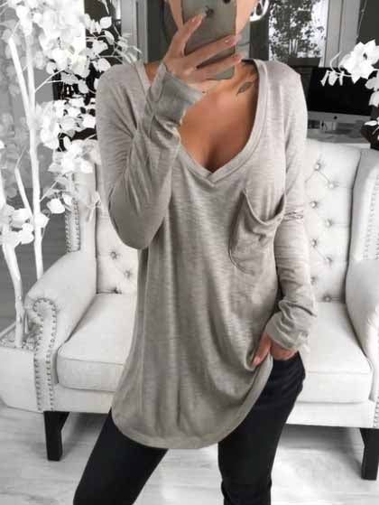 Solid Color Deep V Casual T-shirt