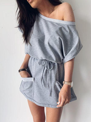 Cold Shoulder Drawstring Dress With Pocketed
