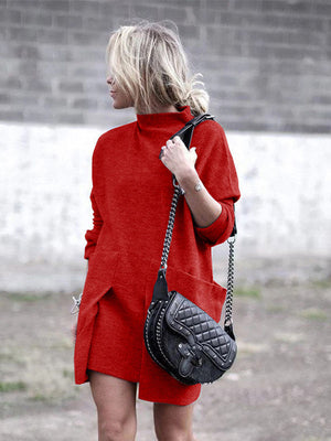 Turtle Neck Fashion Dress With Pocketed