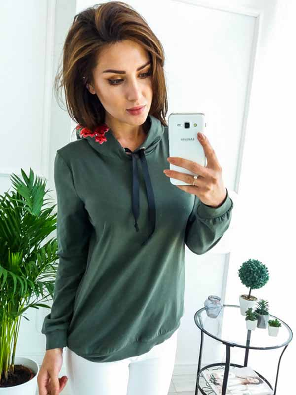 Embroidered Casual Hooded Sweater