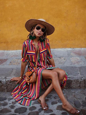 Rainbow Stripe Front Button Pockets Dresses-Maxi Dresses-eliepop.com