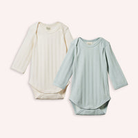 Derby Long Sleeve Bodysuit 2 pack - Natural/Sea
