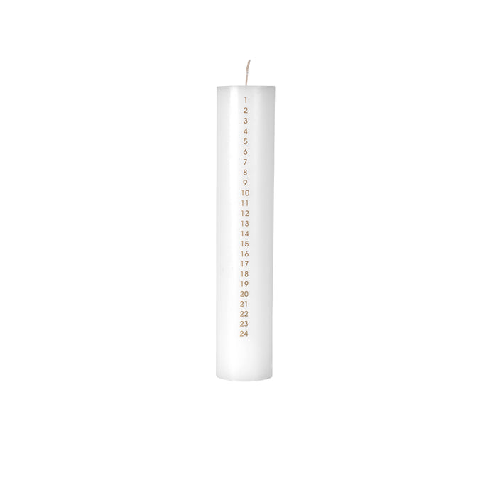 White Advent Candle With Gold Numbers