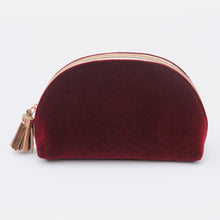Load image into Gallery viewer, Burgundy Velvet Half Moon Cosmetic Purse