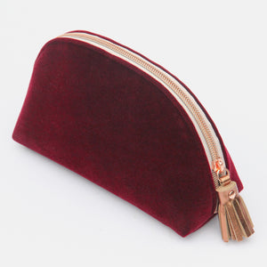 Burgundy Velvet Half Moon Cosmetic Purse
