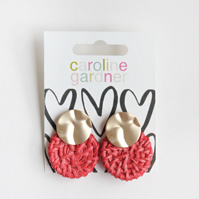 Pink Raffia Statement Earrings