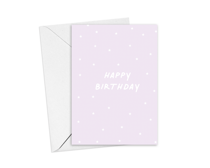 Lilac Stars Happy Birthday Card