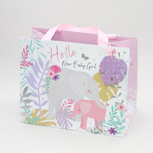 Baby Girl Tote Gift Bag - Pink Elephant
