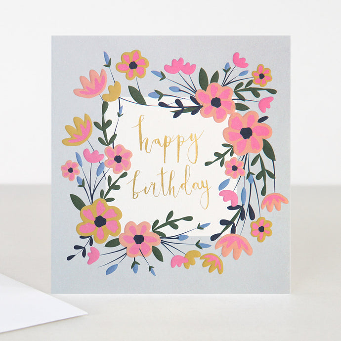 Floral Garland Happy Birthday Card