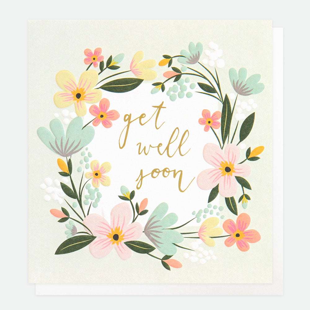 Floral Garland Get Well Soon Card