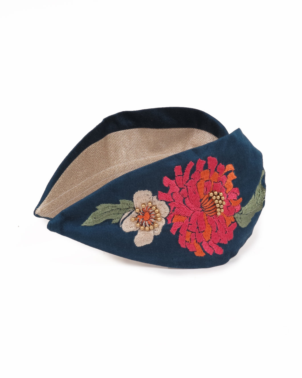 Retro Meadow Embroidered Headband - Teal