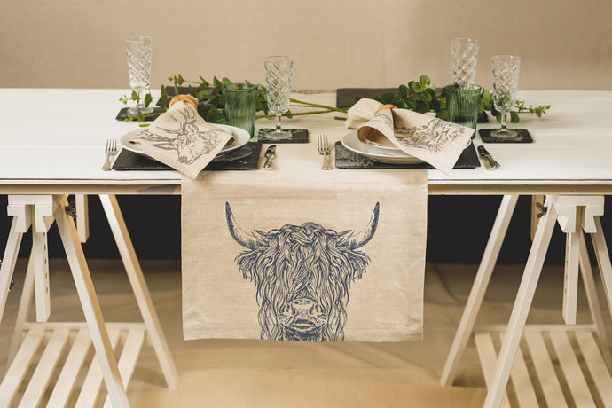 Highland Cow Linen Table Runner
