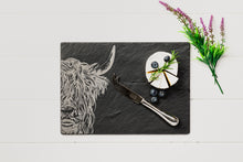 Load image into Gallery viewer, Slate Highland Cow Cheeseboard & Knife Set