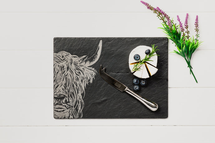 Slate Highland Cow Cheeseboard & Knife Set