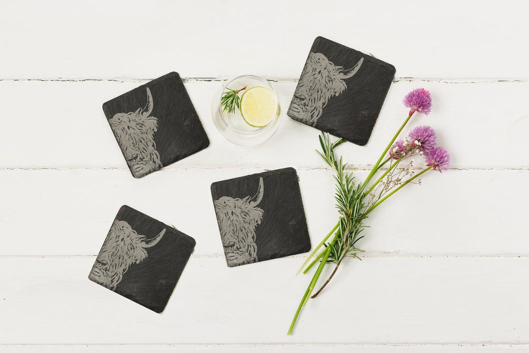 Set of 4 Highland Cow Slate Coasters