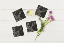 Load image into Gallery viewer, 4 Stag Slate Coasters