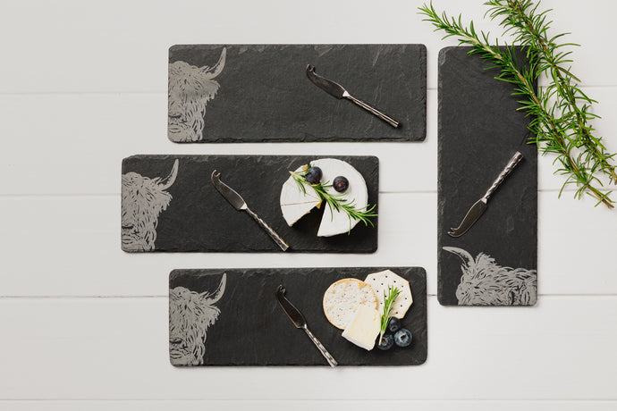 4 Slate Highland Cow Mini Cheese Board & Knife Set
