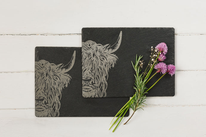 Highland Cow Slate Tables Mats