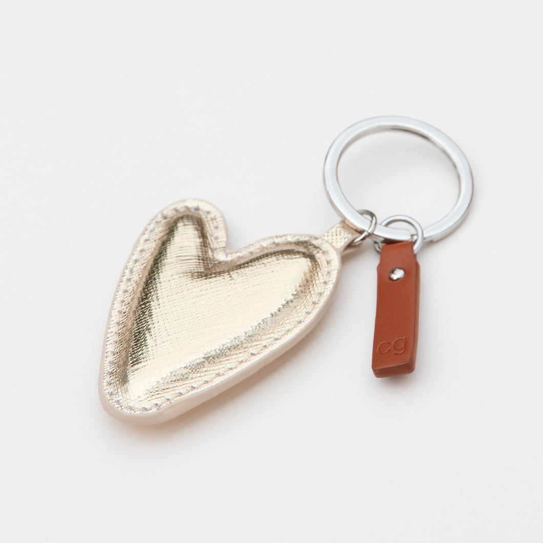 Light Gold Heart Keyring