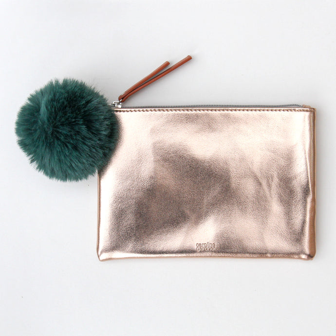 Rose Gold Pouch With Green Faux Fur Pom