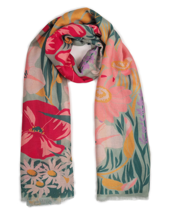 Country Garden Print Scarf - Mint