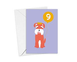 Dog 9th Birthday Card