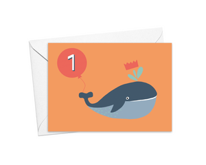 Whale 1st Birthday Card