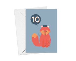 Fox 10thBirthday Card