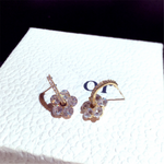 Cubic Zirconia Floral Hoop Earrings