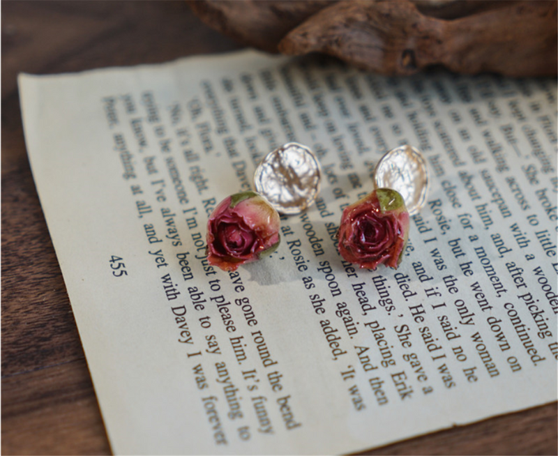 Rose Preserved Flower Petal Dangle Earrings
