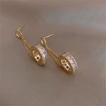 Minimalist Cubic Zirconia Dangle Hoops Earrings