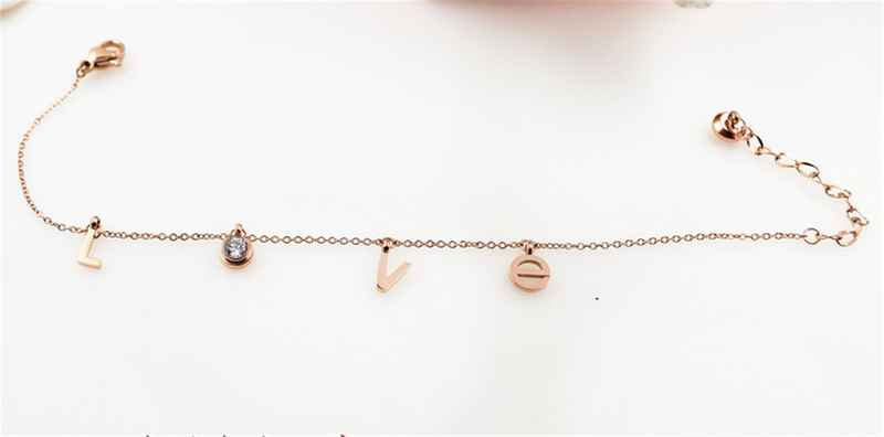 Rose Gold Minimalist Love Initial Chain Bracelet