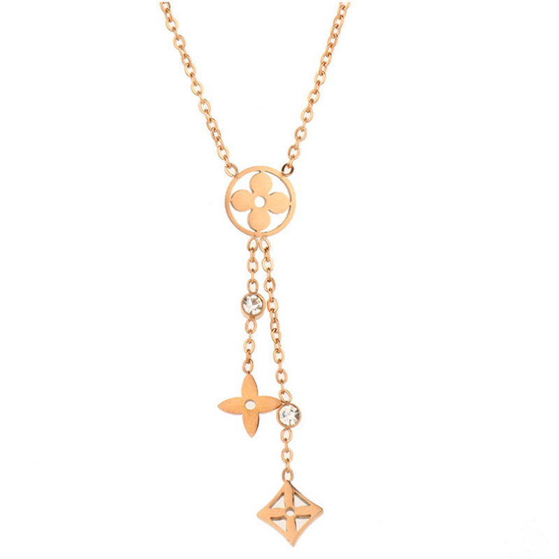Rose Gold Floral Extender Dangle Necklaces