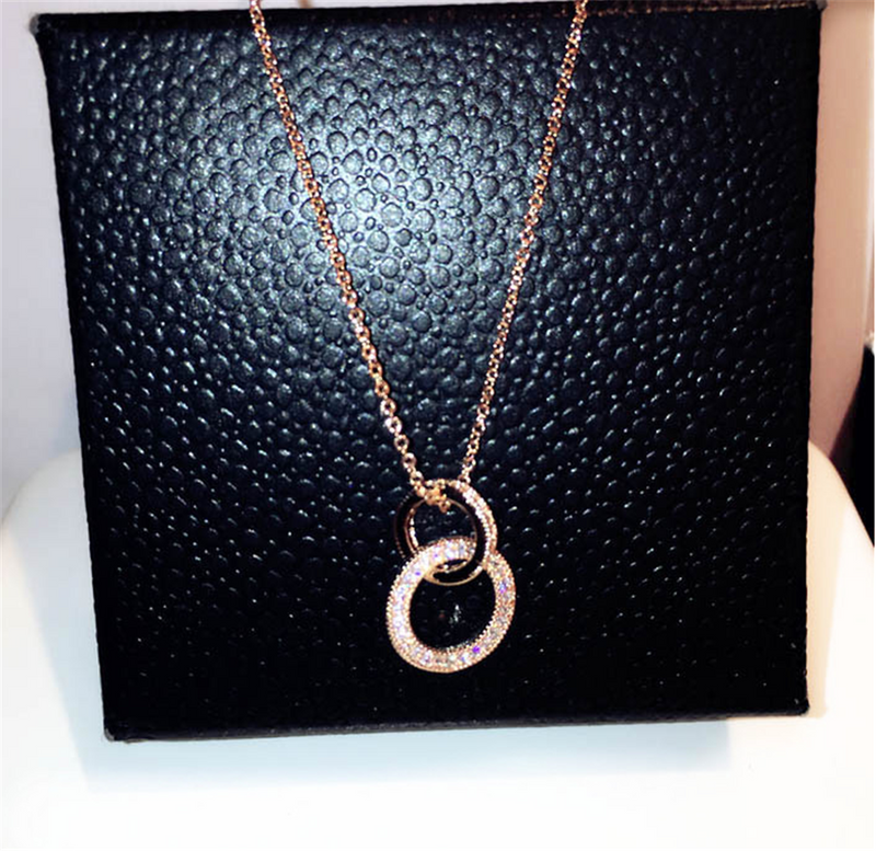 Cubic Zirconia Cross Hoops Pendant Necklace