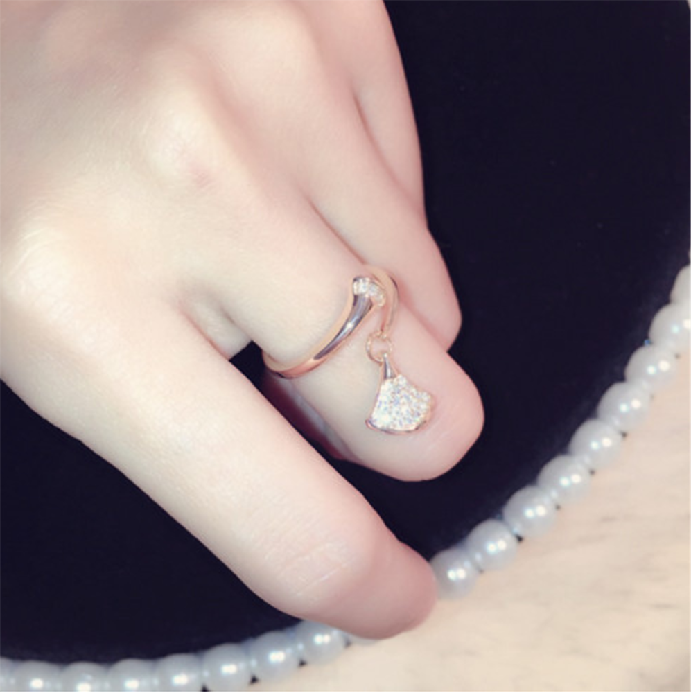 Minimalist Fan Rhinestones Crystal Beaded Charms Adjustment Ring