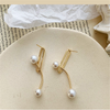 Pearl on Paperclip Studs Earrings