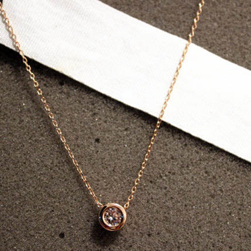 Gold Minimalist Cubic Zirconia Chain Necklace