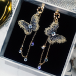 Cubic Zirconia Butterfly Dangle Chain Earrings