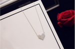 White Gold Crystal Heart Dangle Charms Choker