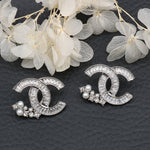 Cubic Zirconia Pearl Beaded CC Studs Earrings