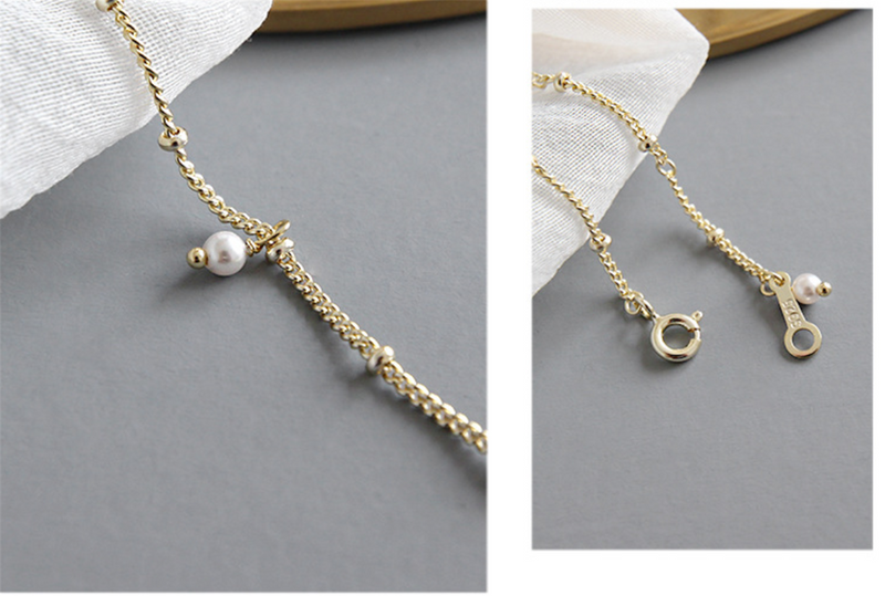 Gold Beaded Moonstone White Pearl Bracelet