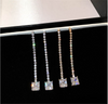 Cubic Zirconia Beaded Dangle Strings Earrings