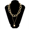 Double Layers Gold Chain Lock Choker Necklace