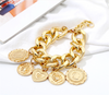 Vintage Gold Coins Bar Chain Bracelets