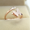 Minimalist Butterfly Charms Adjustment Statement Ring