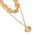 Gold Chain Double Layers Shell Charms Necklace