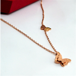 Rose Gold Chain 3D Butterfly Charms Choker Necklace